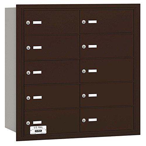 Salsbury Industries 3610ZRU 4B Plus Horizontal Mailbox, 10 B Doors, Rear Loading, USPS Access, Bronze