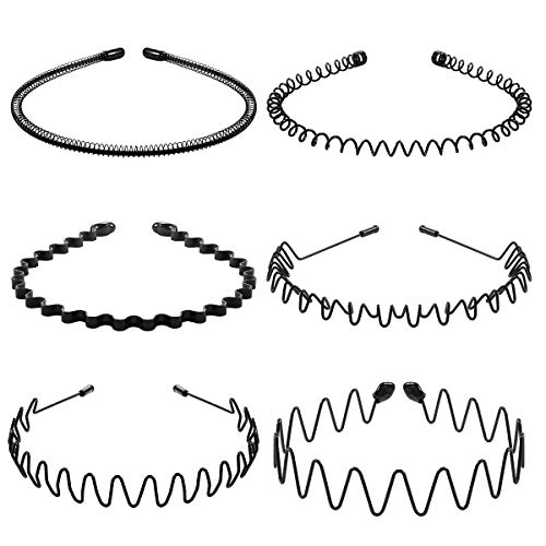 Lurrose 6Pcs Unisex Wavy Headband Metal Hair Hoop Ordinary Headwear Hair Accessories for Women and Men
