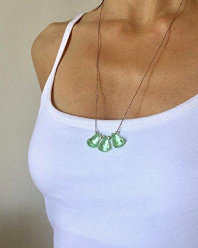 20'' long necklace ELOISA//green lucite crystal pendant, silver color silk (Lucite Pendant)