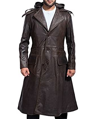 Assassins Men's Ninja Style Removable Hood Dark Brown Leather Coat | Creed Style Leather Coat for Men (Medium)