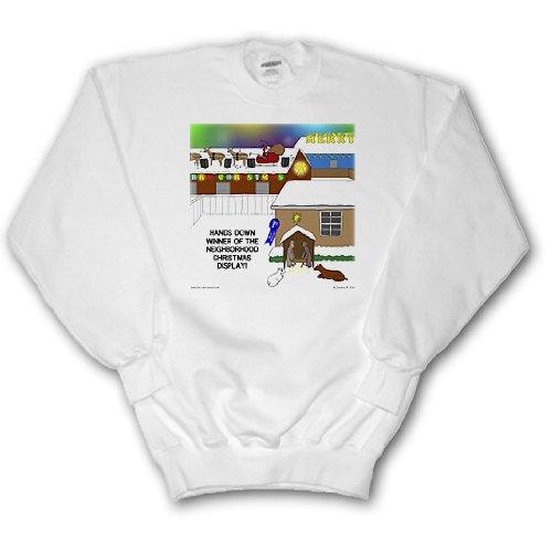 Rich Diesslins Cartoon Days of Christmas TCDC - Simple Nativity Wins Neighborhood Christmas Display Contest - Sweatshirts - Adult SweatShirt Medium (Nativity Display)