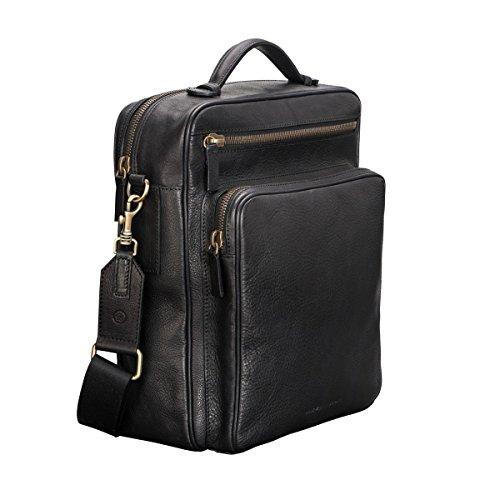 """Maxwell Scott® Exclusivo bolso bandolera convertible en mochila en cuero Italiano texturizado color camel para laptop 13.3"""" (SantinoL) Negro"""
