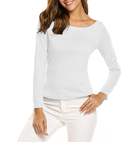 COTTON PICKING GIRLS Women's Long Sleeve t-shirt Sexy Soft Cotton Top (S, White/Boat-Neck) (Boat Knit Tee Neck)