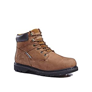 KINGSHOW Men's 1406-3 Premium Brown Full-Grain Leather Plain Rubber Sole Soft Toe Work Boots 10.5 M US