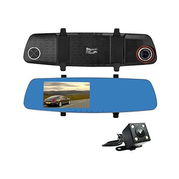 "ULU SD550 Dash Cam FHD 5.0"" Screen 1080P Front + VGA Rear 290° Super Wide Angle Rearview Mirror Car Dashboard Camera Recorder With NTK96655 Chipset,6G Glass Lens, Night Vision,G Sensor, Loop Recording"