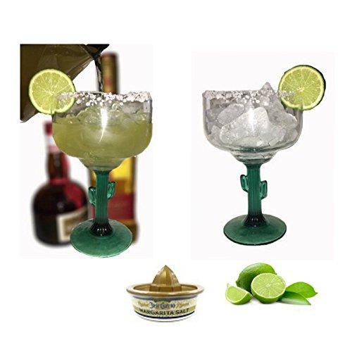 Margarita Glasses - Green Cactus Stems - Cozumel Margarita - 12 ounces - Jose Cuervo Margarita Salt (1) Jazzy Island Ritas Blended or On The Rocks, Strawberry, Melon or Corona Ritas by JazzyIslandRitas