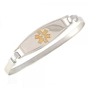 Women's Medical Alert ID Bracelet - Bangle, Custom Engraving Included, Stainless Steel from Walt