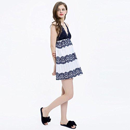MH-RITA Lindo vestido de verano Femenina Coreana camisón de encaje de temperamento Cabestrillo Collar V femenino pijamas camisón de verano L (170 yardas) M (165 yardas)