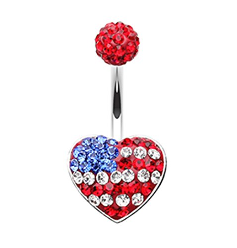 Freedom Fashion American Flag Heart 316L Surgical Steel Belly Button Ring (Sold Individually)