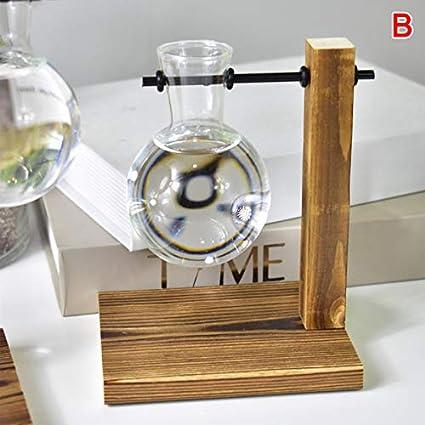 Alftek Tisch Schreibtischlampe Glas Hydrokultur Vase Blume Blumentopf mit Holzschale B/üro Dekor