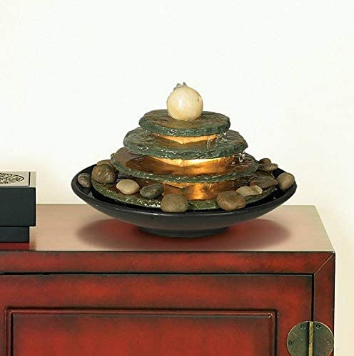 John Timberland Pyramid Zen Indoor Table-Top Water Fountain with Light 10 High 4 Tiered Feng Shui Ball for Table Desk Office Home Bedroom Relaxation