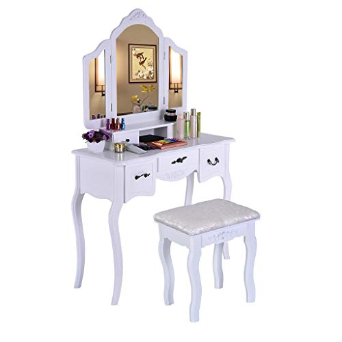 Vanity Set with Mirror, Jewelry Cabinet / Jewelry Armoire, Makeup Organizer, Cushioned Stool, 3 Sliding Drawers Makeup Desk Dressing Table - Shipped From USA (White, 1 x Makeup Table, 1 x Desk)