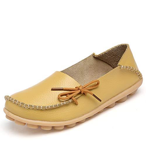 Cuir en Infirmière Plates 42 on Femmes Chaussures Paresseux Jaune Slip Loafers Orange coloré Confortable EU Souple ZHRUI Taille Grandes pqwXApnf