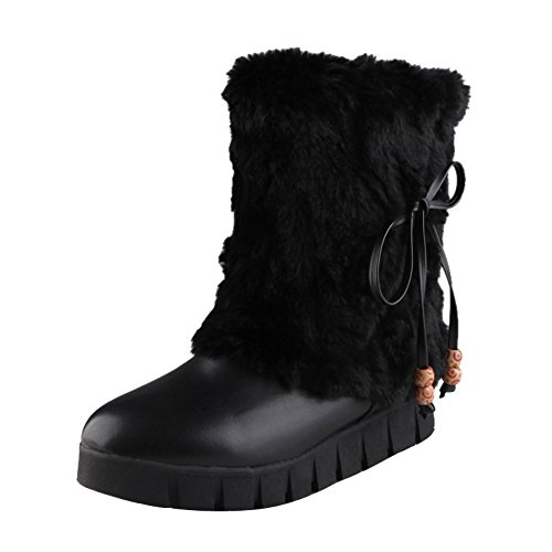 Winter Black Short Snow Faux Latasa Boots Fur Flats Cute Womens nCxwzzqYPv