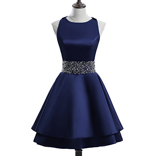 MEILISAY Womens Crew Beading Prom Dresses Short Sequiuned Homecoming Dresses Mini Cocktail Dresses Navy Blue,8