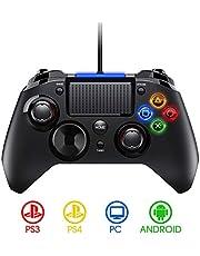 【2020 NEW】PS4 Controller- Wired Gaming Gamepad mit Dual-Vibration-Turbo und Trigger-Tasten für PlayStation 4/ PlayStation 3/ PC (Windows XP/ 7/8/ 8.1/ 10)/ Android/ Steam, Schwarz