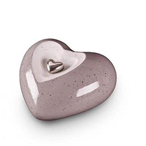 In ceramica a forma di cuore ceneri di cremazione urna (Legend grigio) Adatto per bambino bambina neonato bambino