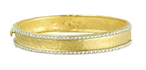 Dwt 1.12 jaune 18 carats-Diamant-Bracelet jonc finition martelée 11 JewelryWeb marteau