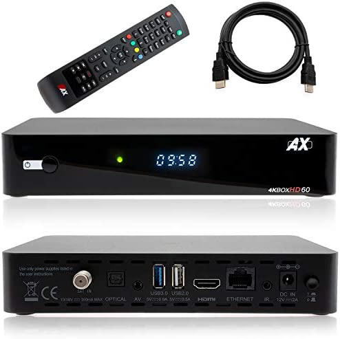 AX HD60 4K UHD 2160p E2 Linux 1xDVB-S2X Sat Receiver incl. HDMI cable [pre-programmed for Astra & Hotbird]