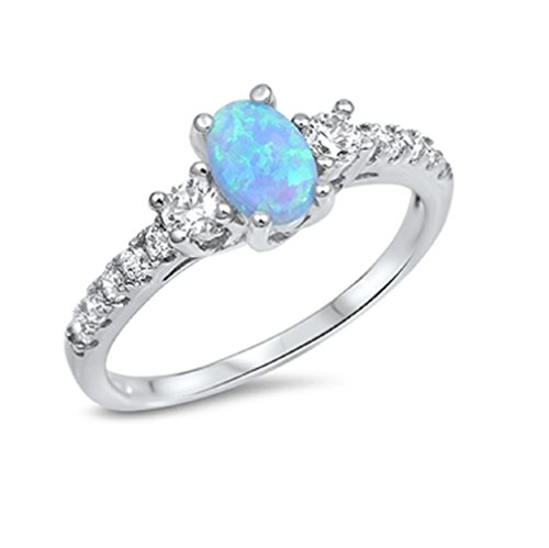 CloseoutWarehouse Oval Center Blue Simulated Opal Cubic Zirconia Ring Sterling Silver Size 10