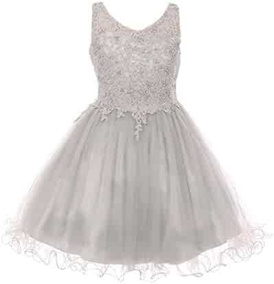 d32a61565fc4b Cinderella Couture Big Girls Silver Rhinestone Pearl Beaded Tulle Junior  Bridesmaid Dress 8-16