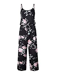 RINZON Women's Wide Leg Summer Jumpsuits Overalls Strappy Floral Long Pants Rompers