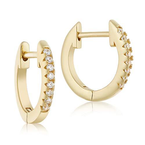 Lusoro 925 Sterling Silver Gold Plated Single Row AAA Cubic Zirconia Pave' Huggie Hoop Earrings