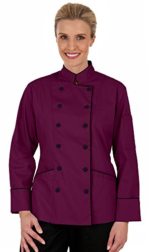 Women's Wine Long Sleeve Chef Coat with Piping (XS-3X) (X-Large) by ChefUniforms.com