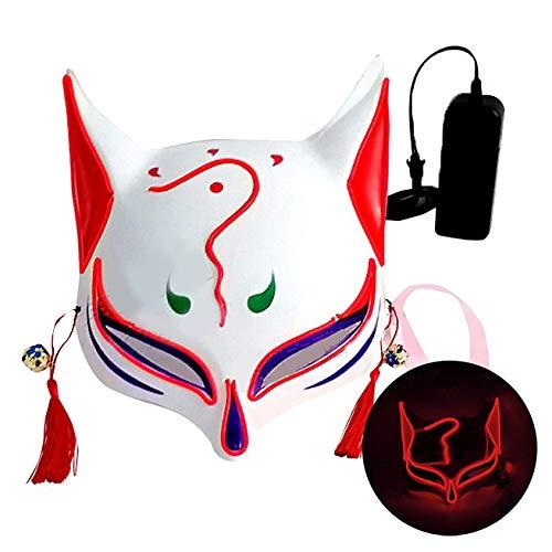 L'VOW Halloween Fox Mask LED Light Up Japanese Kabuki Masks for Festival Cosplay Costume Props (Red)]()
