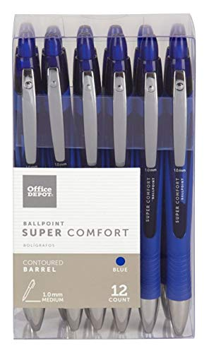 Office DepotSuper Comfort Grip Retractable Ballpoint Pen, 1.0 mm, Medium Point, Blue Barrel, Blue Ink, pk Of 12, OD37317 (Pen Super Grip)