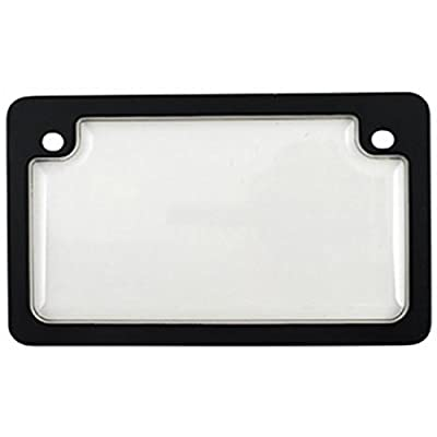 Custom Combos 92776 Clear Unbreakable Motorcycle License Plate Shield and Frame Combo with Black Frame by Custom Combos
