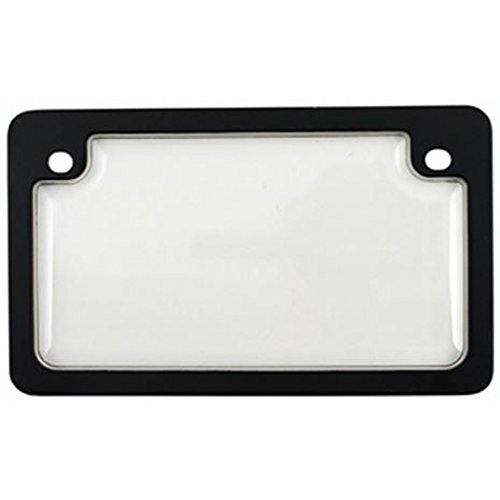 Custom Combos 92776 Clear Unbreakable Motorcycle License Plate Shield and Frame Combo with Black Frame