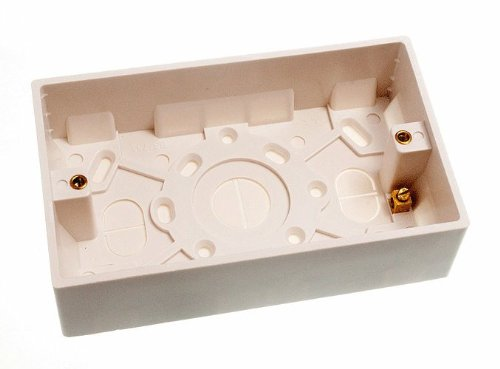 MOULDED PATTRESS SURFACE MOUNT BACK BOX DOUBLE 2 GANG 35MM onestopdiy.com