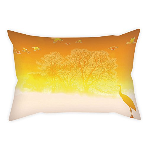 - Microfiber Throw Pillow Cushion Cover,Nature,Immigrant Birds Flying in the Sky Spring Time Forest Trees Eco Fall Landscape Decorative,Orange Yellow,Decorative Square Accent Pillow Case
