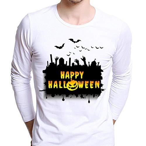 zahuihuiM Fashion pour Chemise Longues Lettre Blouse Imprimer Rond Nouveau Size Citrouille Automne Col d'halloween Casual Hauts Plus A Manches Homme x64rdxw