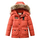 Boys Kids Winter Hooded Down Coat Puffer Jacket for Big Boys Mid-Long (Orange, 4)