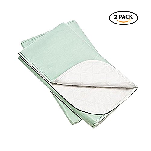 Platinum Care PadsTM Washable Large Standard Reusable Bed Pads/Hospital Underpads, for use with Incontinence and Pets Size 34x36 in, Pack of 2 (Green) by Platinum Care Pads