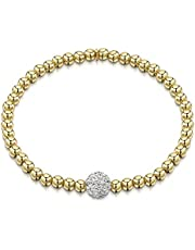 Amberta 925 Sterling Silver - 4 mm Beaded Stretch Bracelet with Zirconia 8 mm Ball CZ Crystal Charm - Elastic Fit Up to 7.5 inch / 19 cm