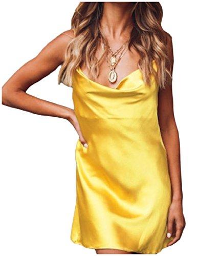 Coolred-femmes Sangle Solide Dos Évidé Robes Sexy Casual V Cou Jaune