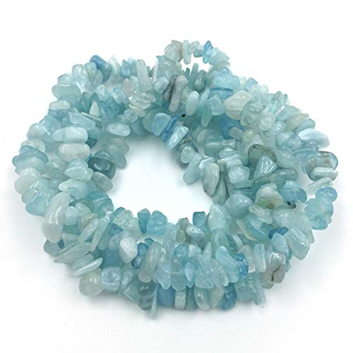 favoramulet Aquamarine Irregular Tumbled Chips Loose Beads Strand for Jewelry Making