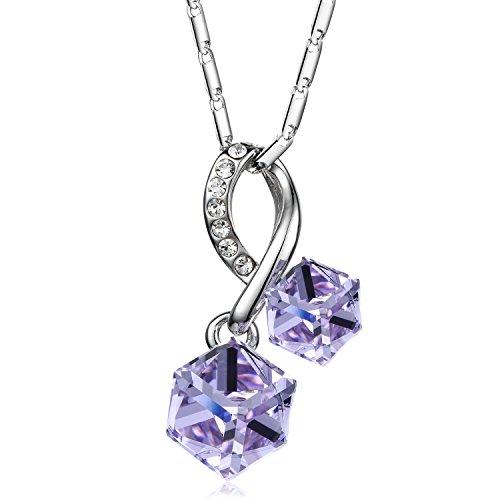 Crystal Square Pendant Necklace (Olen Purple Necklace for Women Gifts Square Crystal Pendant Necklaces)