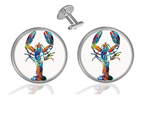 ecowcow Colorful Lobster Custom Classic Jewelry Tuxedo Shirt Cufflinks Men's Unique Business Gifts ()