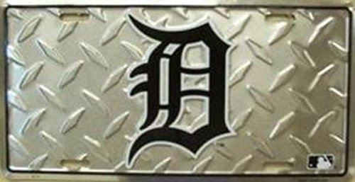MLB Detroit Tigers Diamond Metal License Plate