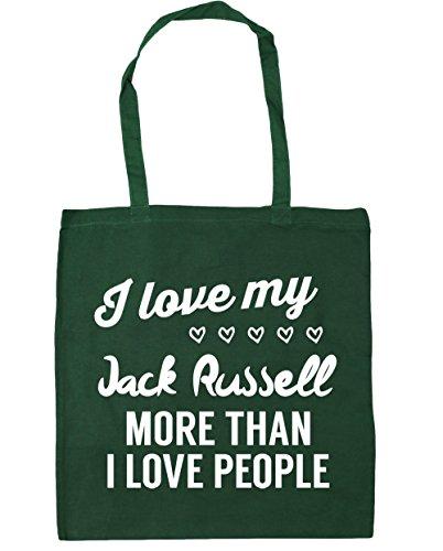 HippoWarehouse I Love My Jack Russel–más de I Love People Tote Compras Bolsa de playa 42cm x38cm, 10litros verde oscuro