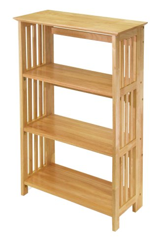 Winsome Wood Foldable 4-Tier Shelf, Natural - Garden Furniture Foldable Wood