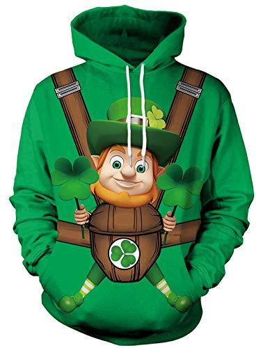 Mens Saint Patrick's Day Hoodies st Patty's Day Sweatshirt Pullover St. Patrick's Day Shirt M