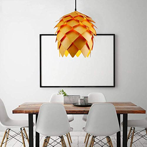 Ceiling Fan Light Chandelier Lightings Minimalist Modern Contemporary Pendant Ceiling Orange Single Head Wood Art Chandelier Country Art Pinecone Design Pendant Lamp Ceiling Living Room Bedroom Dinin