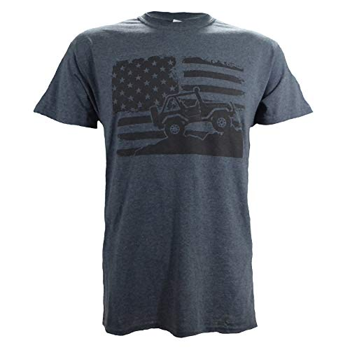 Screen Print Flag - American Off-Road on a Dark Heather T Shirt