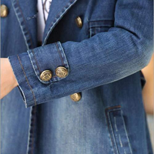 Cappotto Bavero Casual Manica Anteriori Confortevole Jeans Chic Trench Lunga Giacche Donna Di Blau Ragazza Double Tasche Moda Cappotti Elegante Breasted Invernali 8q6U44