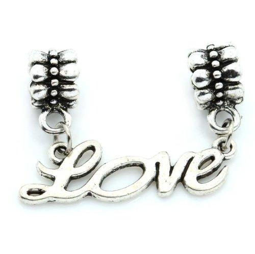 "Pro Jewelry ""Love Cursive Dangle"" Charm Bead for Snake Chain Charm Bracelets"
